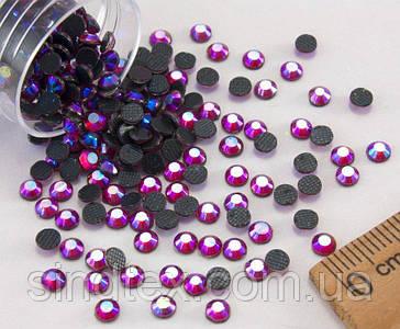 (10грамм  400шт)  Стразы SS15 стеклянные (3,5-3,5мм) термоклеевые Цвет - Красный с синим напылением (сп7нг-1148)