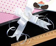 (10шт) Подарочные бантики 39х2см (13х10см в собранном виде) бант-затяжка Цвет - Белый (сп7нг-0478)
