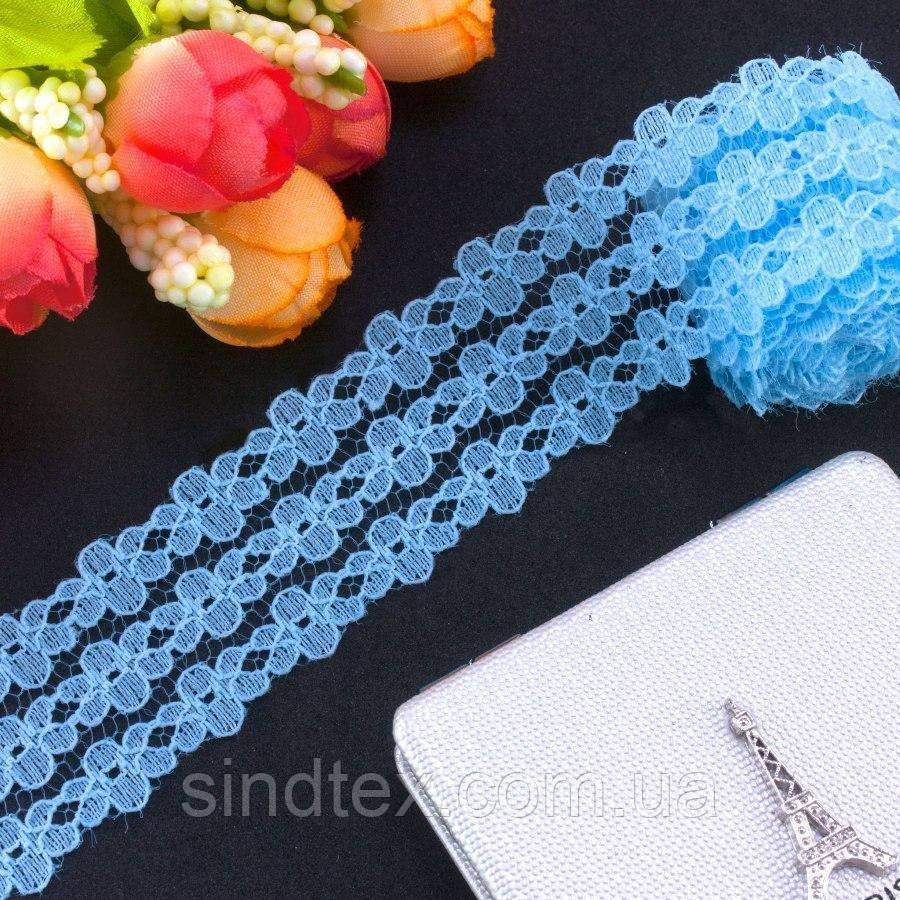 Кружево на сетке, 2,5см (цена за 10 метров) Цвет - Голубой (сп7нг-2443)