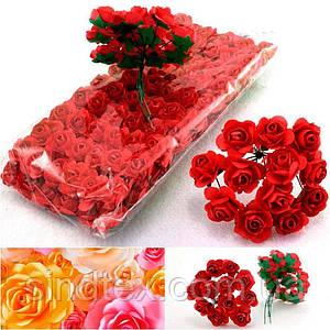 (ОПТ,12 букетиков) Роза бумажная 1,5см (144 шт) Цвет - Красный (сп7нг-1370)