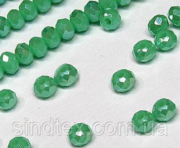 Бусины хрустальные (Рондель)  2х2мм пачка - 180-190 шт, цвет - зеленый непрозрачный с АБ (сп7нг-1535)
