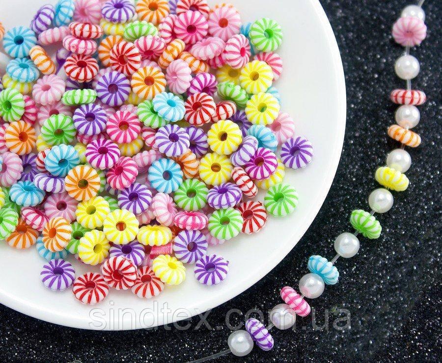 (20 грамм) Пластиковые бусины 8х3мм  (прим. 125 шт) Цвета - Микс (сп7нг-0744)