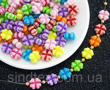 """(20 грамм) Пластиковые бусины 11х11мм """"Клевер"""" (прим. 42 шт) Цвета - Микс (сп7нг-0749)"""