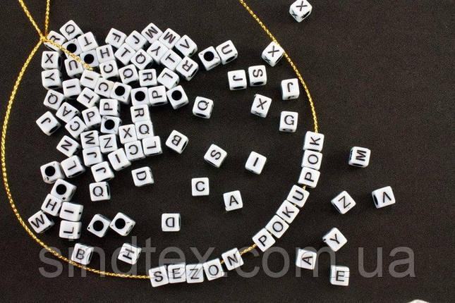 (20 грамм) Пластиковые бусины КУБ с буквами-АЛФАВИТКА 5х5мм (прим. 75 шт) Цвет белый (сп7нг-0951), фото 2
