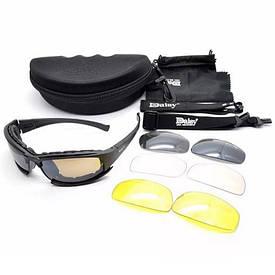 Тактические очки 4 линзы Daisy X7 черные