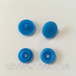 Кнопки пластиковые цветные для детской одежды и постельного белья Т5  Ø 11,7 мм Синие  (10 компл.) (СИНДТЕКС-0086)