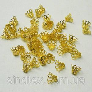 20 грамм(45-50шт D-1,5см) обниматели для бусин, цвет ЗОЛОТО (657-Л-0560)