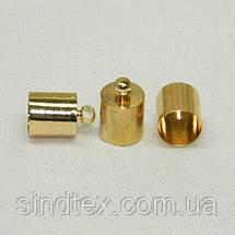Колпачок, концевик для бисерного жгута или шнура.D-8мм, золото (657-Л-0562), фото 3