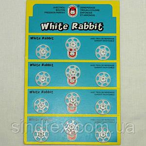 Пластиковая кнопка 20мм  для одежды, пришивные (уп.12шт.) белые (657-Л-0145)