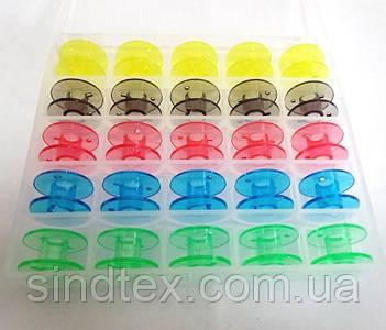 Шпульки цветные для бытовых швейных машин (пластик) в органайзере (653-Т-0527)