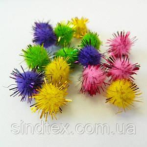 (≈ 80 грамм) 1см Помпончики (помпоны) мягкие шарики (БЛЕСТЯЩИЕ) (657-Л-0284)