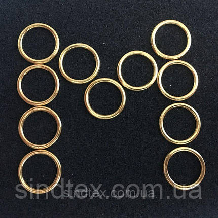 Золотой 1 см регулятор (МЕТАЛЛ) для бретелей бюстгальтера (кольцо) (БФ-0017), фото 2