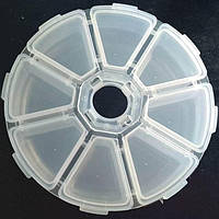 04-Пластиковая тара (контейнер, органайзер) для рукоделия и шитья 10×2.5см (657-Л-0205)