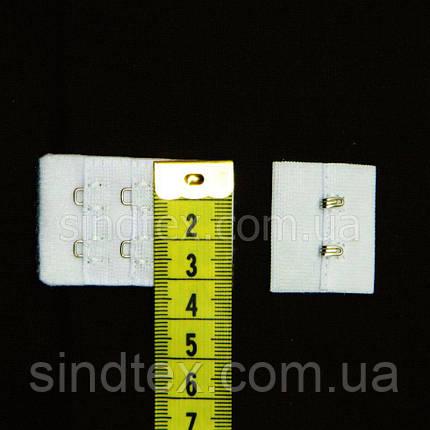 Застежка для бюстгальтера на 2 крючка, белый хром 3х5 см (SN-BF-0013), фото 2