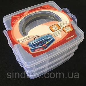 15х15х11см пластиковая тара (чемоданчик, контейнер, органайзер) для рукоделия и шитья  (657-Л-0524)