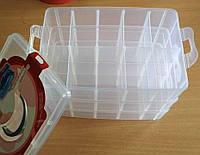 10-Пластиковая тара (контейнер, органайзер) для рукоделия и шитья 24.5×16×18см (657-Л-0211)