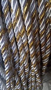 Декоративный шнур для натяжных потолков, БЕЛЫЙ С ЗОЛОТОМ 10 мм (50ярд) (1-2123-04)