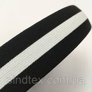 Резинка поясная 3см черная с белой полосой (653-Т-0461)