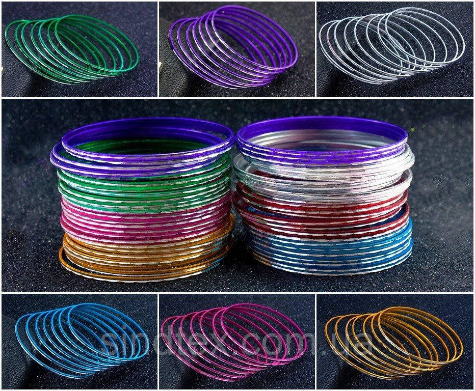 """(50шт,7цветов) Тонкие браслеты """"Неделька"""" Ø7см (ширина одного браслета 2мм)  Цвет - Микс (сп7нг-3037)"""