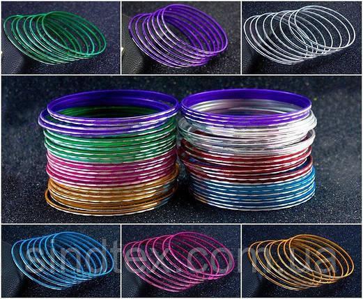 """(50шт,7цветов) Тонкие браслеты """"Неделька"""" Ø7см (ширина одного браслета 2мм)  Цвет - Микс (сп7нг-3037), фото 2"""