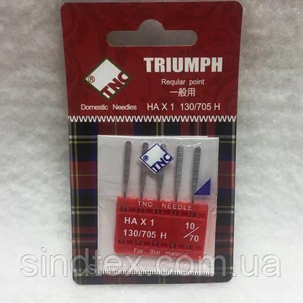 Иглы для бытовых швейных машин TRIUMPH New 130/705H Универсальные №70 (уп.5шт) (ВЕЛЛ-021), фото 2