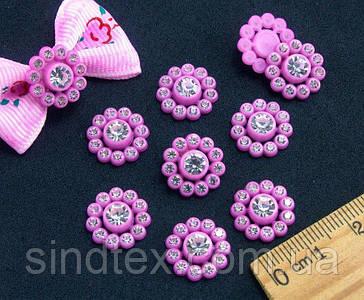 (23-26шт) Объёмные кабошоны, серединки Ø14мм (качественные стразы) Цвет - Розовый (сп7нг-3072)