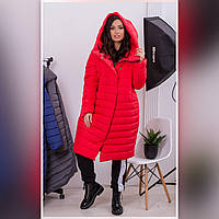 Пальто пуховик - кокон зимний стеганный арт. 180 плащевка Мадонна красное / красный / красная / красного цвета