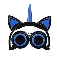 Навушники LINX Unicorn Ear Headphone з вушками Єдиноріг LED Синій
