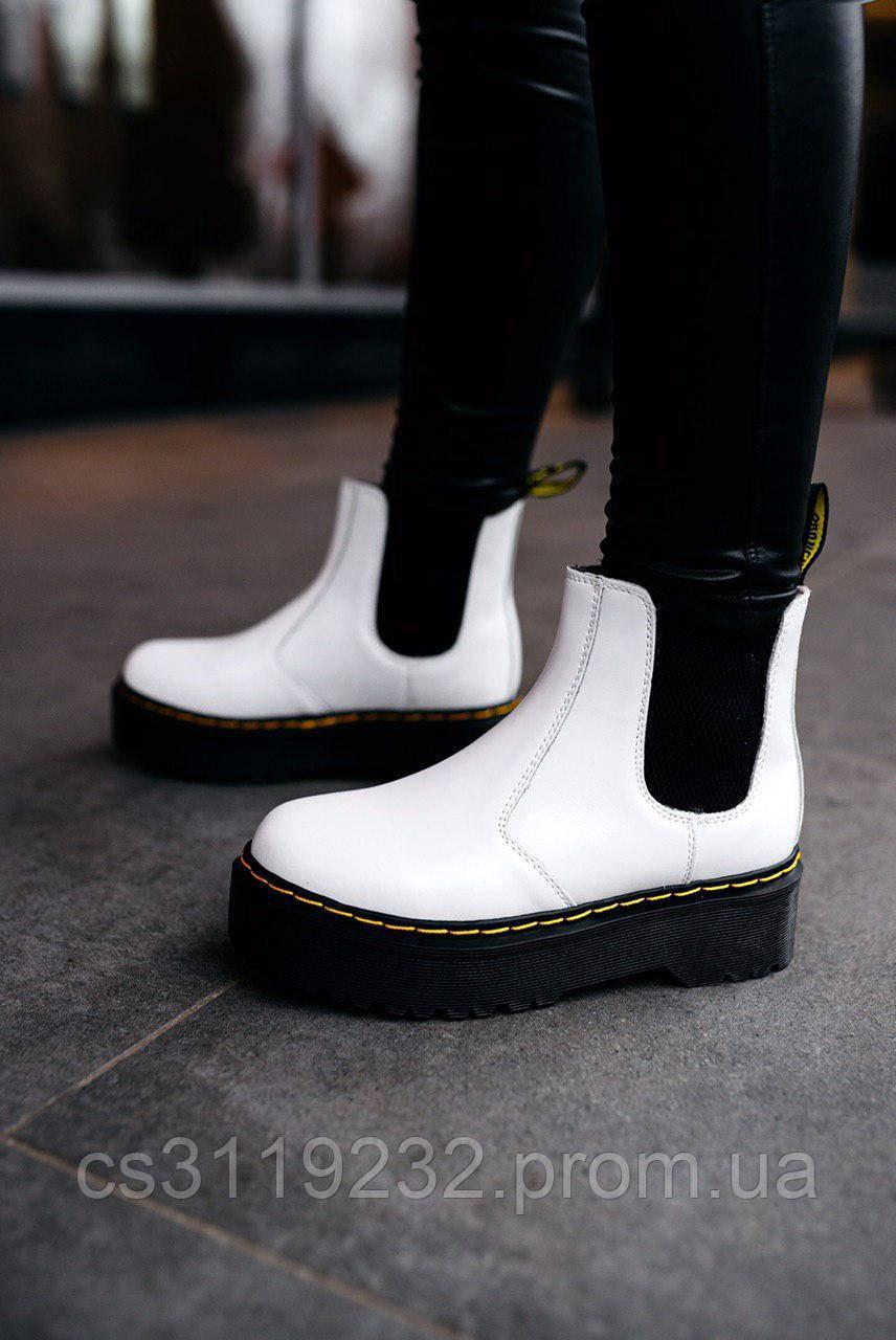 Жіночі черевики зимові Dr.Martens Chelsea 2976 (хутро) (білі)