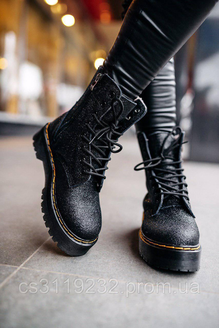 Женские ботинки зимние Dr.Martens JADON GLITTER (мех) (черный)