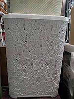 Корзина для білизни пластм Ажурна 65л біла 8000
