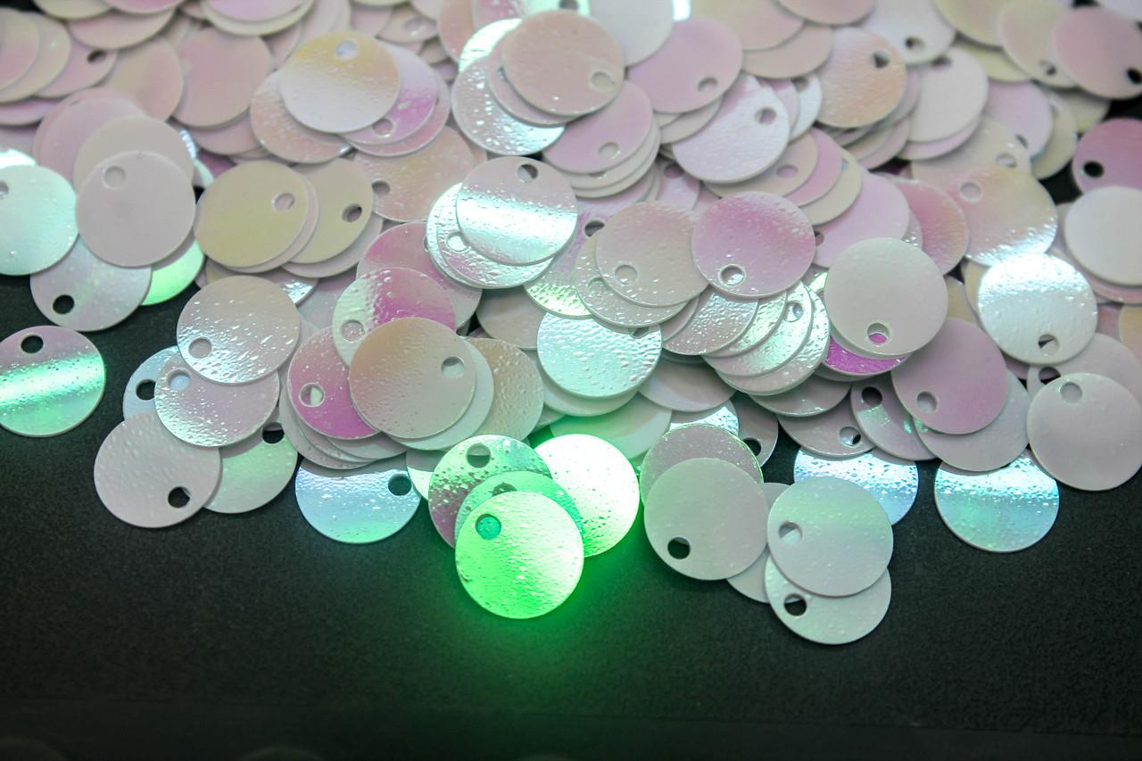 Пайетки Круглые Диаметр 8 мм. Цвет Бело-розовый, В упаковке 25г.