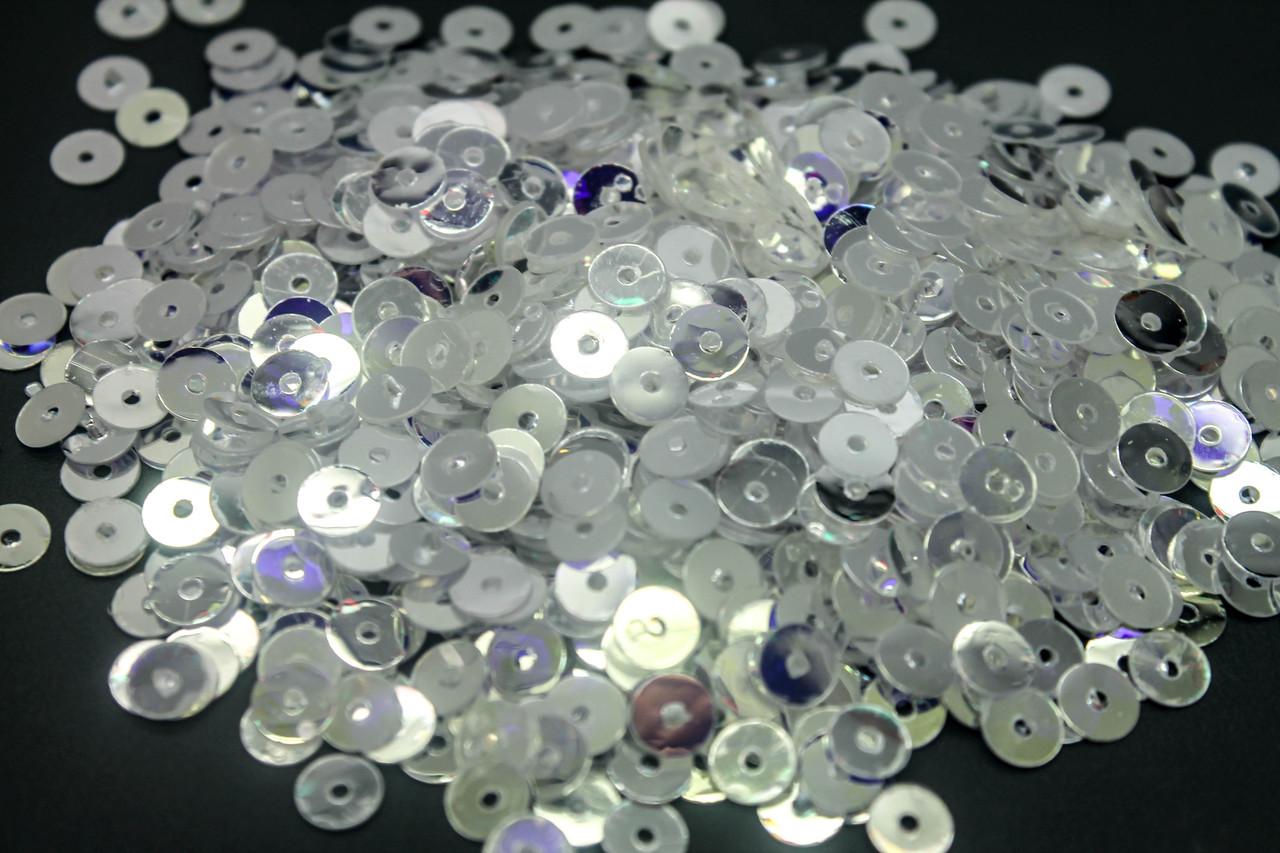 Пайетки зеркальные круглые. Диаметр 6 мм. Цвет Белый прозрачный В упаковке 25г.