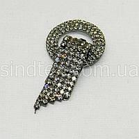 Шубный крючок-застежка (клипса) со стразами, серый 6 см (653-Т-0520)