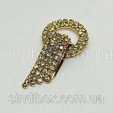 Шубний гачок-застібка (кліпса) зі стразами, золотий 6 см (653-Т-0024)