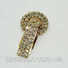 Шубний гачок-застібка (кліпса) зі стразами, золотий 5 см (653-Т-0027)