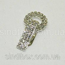Шубний гачок-застібка (кліпса) зі стразами, срібло 5 см (653-Т-0028)