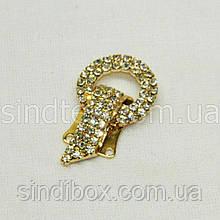 Шубний гачок-застібка (кліпса) зі стразами, золотий 3,5 см (653-Т-0030)