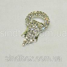 Шубний гачок-застібка (кліпса) зі стразами, срібло 3,5 см (653-Т-0031)