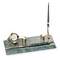 Настольная подставка визитница BST 24х10 с ножиком для вскрытия писем часами и ручкой мраморная (540053)
