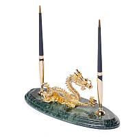 Подставка для ручек BST 24х10 мраморная Золотой дракон (540049)
