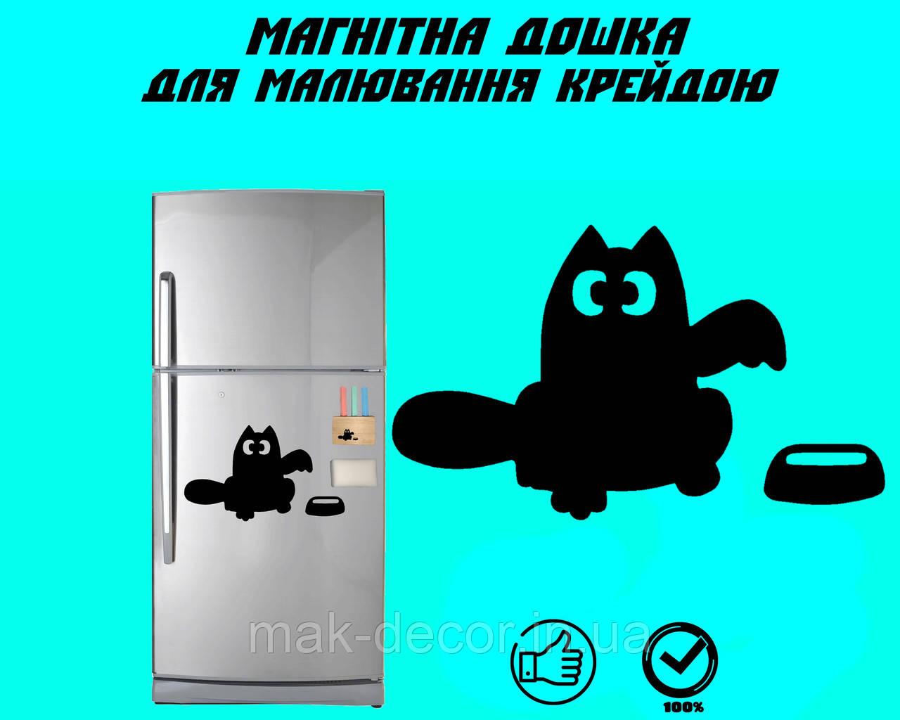 """Магнітна дошка на холодильник """"Кіт Саймона з мискою"""" XL (31х40см)"""
