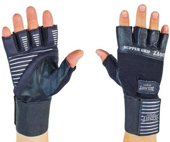 Перчатки атлетические кожаные Zelart с фиксатором запястья и открытыми пальцами для спорта, размер XL.