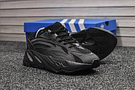 Кроссовки Adidas Yeezy Boost 700 мужские, черные, в стиле Адидас Изи Буст, замшевые, прошиты, код TD-8911.
