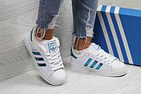 Кроссовки зимние Adidas Superstar женские, белые, в стиле Адидас Суперстар, натуральная кожа, мех, код SD-6359