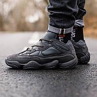 Кроссовки зимние Adidas Yeezy Boost 500 мужские, черные, в стиле Адидас Изи, кожа, внутри - мех, код IN-361