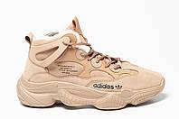 Кроссовки Adidas Yeezy Boost 500 мужские зимние, Кэмел. Натуральный нубук, мех 100% Код SO-0879