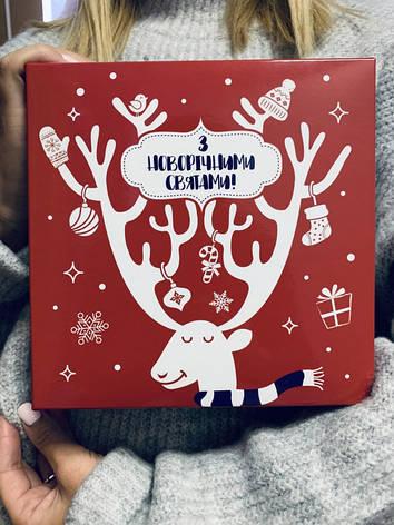 """Подарочная коробка Новогодняя NZY """"С новогодними праздниками"""" 18х18х6 см Красная (128721), фото 2"""