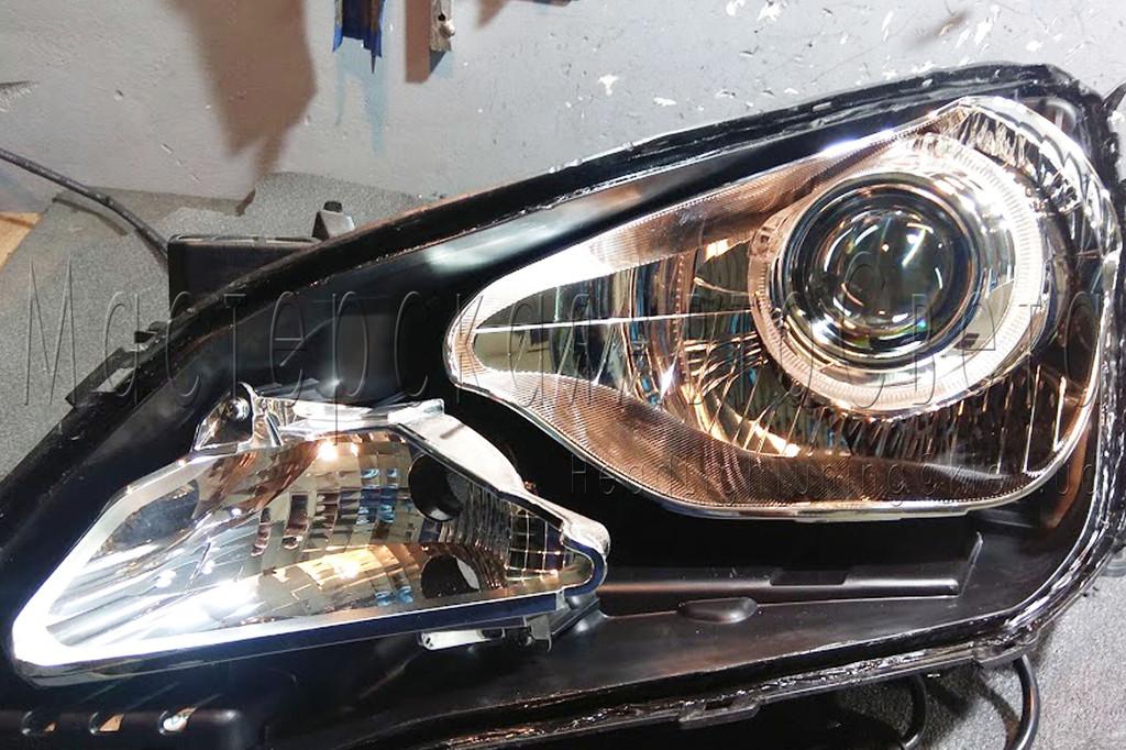 Hyundai Accent - установка светодиодных Bi-LED линз в фары.