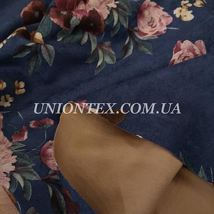 Замша стрейч на дайвинге принт цветы на синем, фото 2